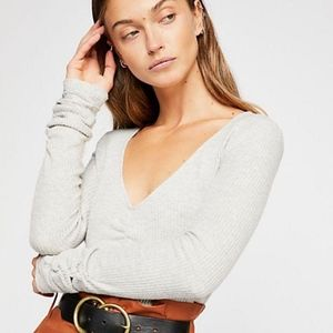 NEW Free People Cozy up with me gray body suit L